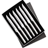 Rada Cutlery Utility Steak Knives Gift Set Stainless Steel Blades with Aluminum, Set of 6, 8-1/2 Inches, Silver Handle