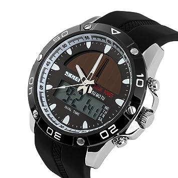 TTLIFE Reloj de pulsera multifuncional de cuarzo al aire libre analógico-digital reloj deportivo Impermeable (plateado): Amazon.es: Deportes y aire libre