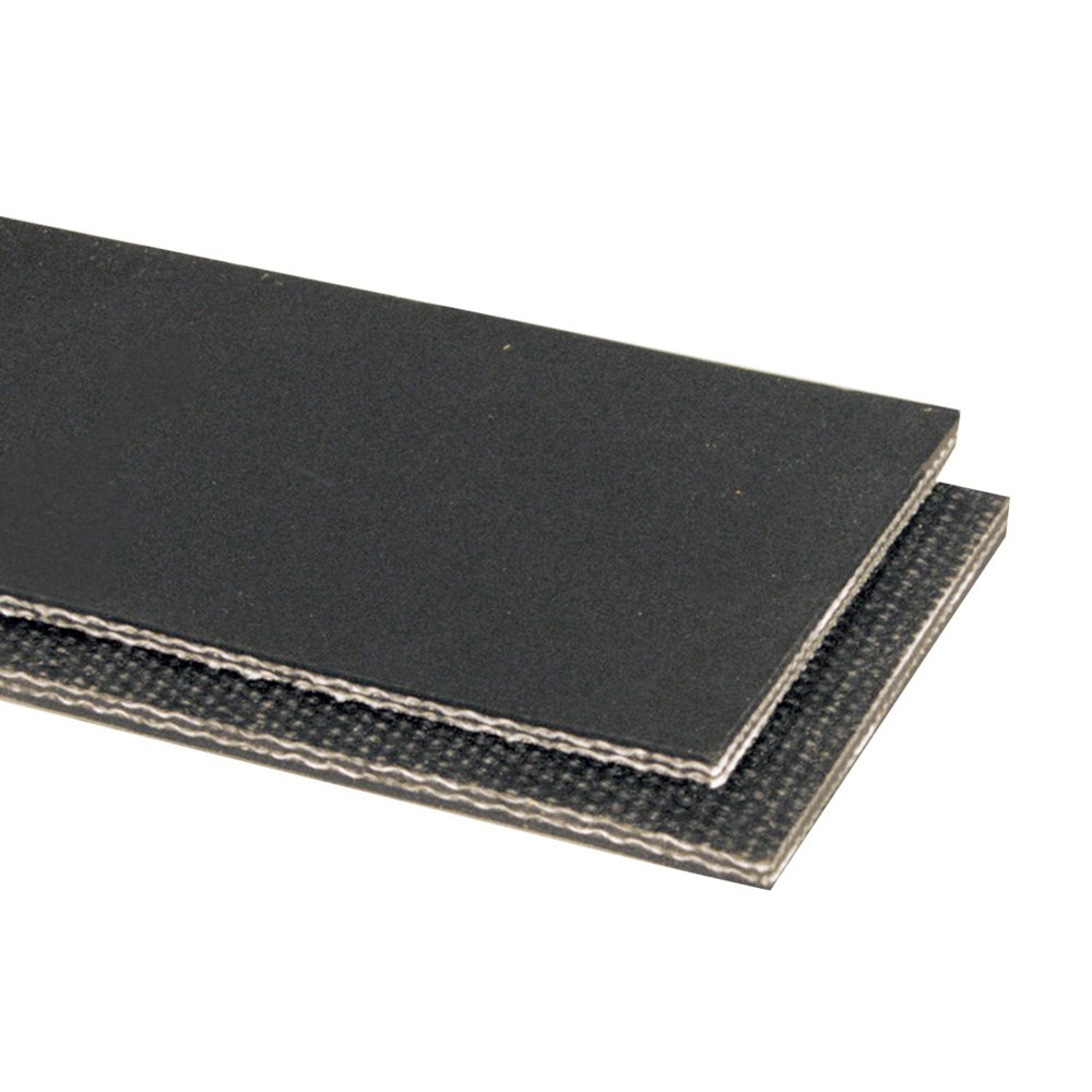 Apache 20104143-06 Package Handling Spun Polyester RMV Lightweight Belting, Cover x Friction Surface, 3 Plies, 150 Working Tension, 0.141'' Thickness, Black