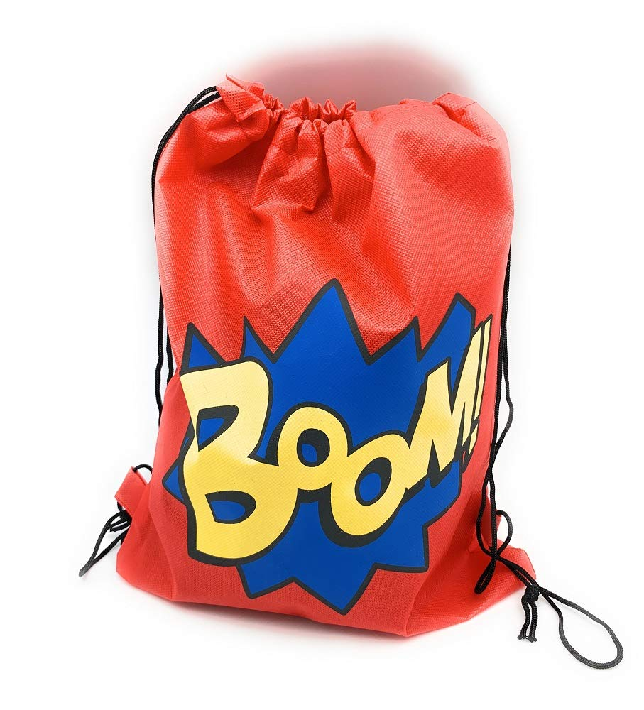 Wham 24 Pack Superhero Party Supplies Party Favor Goody Bags Drawstring Backpack Boom Parties and many many more Birthday Perfect for the Superhero Party Ideal for Boys and Girls Ideal for School /& Zap