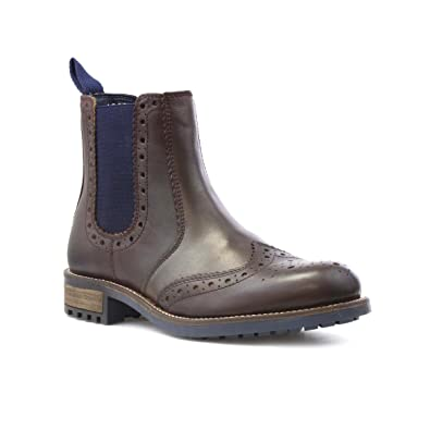 cfd43269 Catesby Mens Brown Leather Brogue Chelsea Boot - Size 12 UK - Brown ...