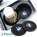 Auto sport 2.75 Inch Diameter Oval Tough Car Logo Vehicle Travel Auto Cup Holder Insert Coaster Can 2 Pcs for BMW…
