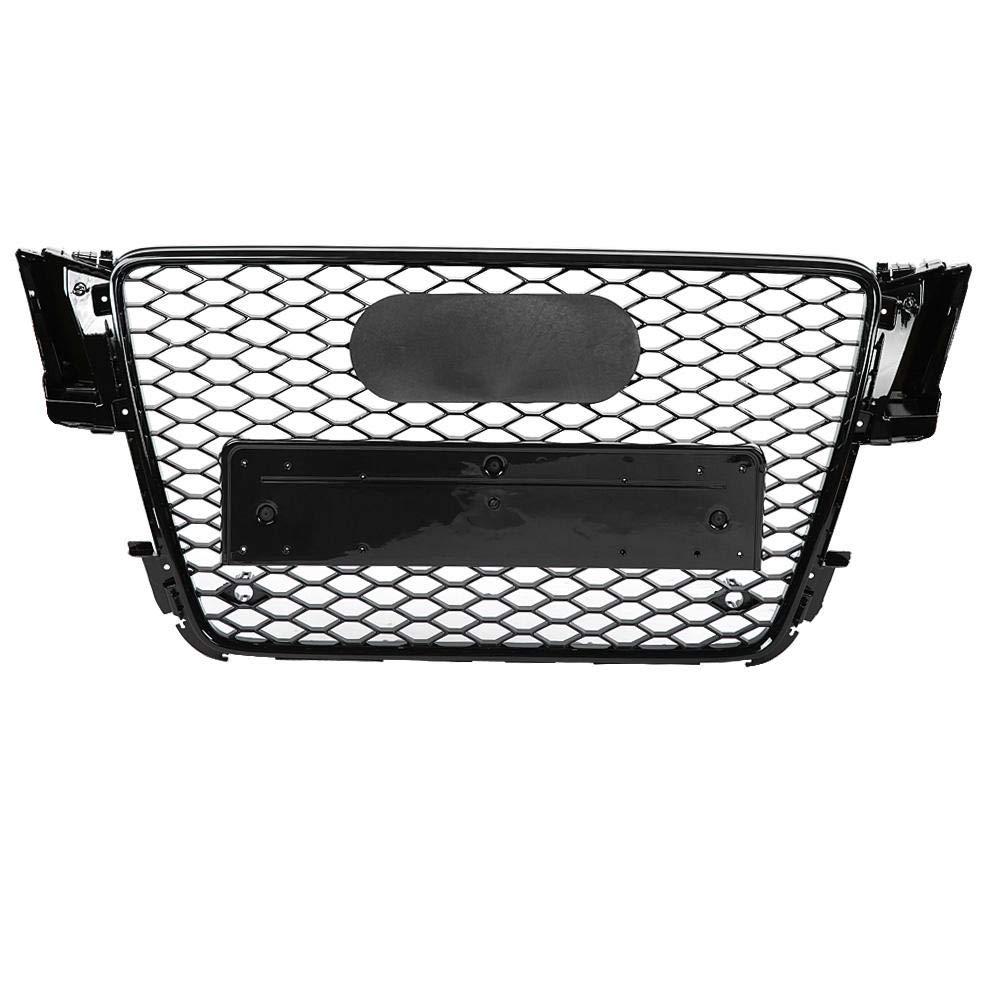 Qii lu Parachoques de coche Parrilla de plástico ABS frontal Deporte Hex Malla Panal Brillo para A5/S5 B8 08-12, RS5 Estilo