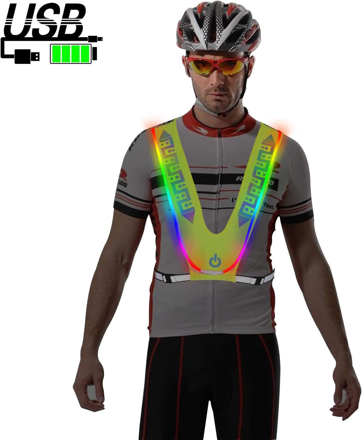 MORLIGHT LED Reflective Vest Adjustable Rechargeable High Visibility Safety Vest Gear for Night Running, Dog Walking, Jogging, Cycling, Motorcycling