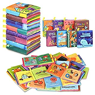 Baby Bath Books,Nontoxic Fabric Soft Baby Cloth Books,Early Education Toys,Waterproof Baby Books for Toddler, Infants Perfect Shower Toys,Kids Bath Toys Best Gift (8pcs)