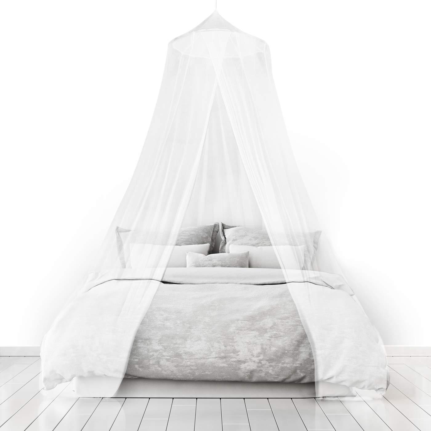 Home and More Store Ltd Moustiquaires 4 U blanc moustiquaire ciel de lit pour vacances et d'accueil Pleine couverture 12 mètres Jusqu'à Kingsize Irritation de la peau non Sac de Voyage Gratuit V4-UEFK-KM28