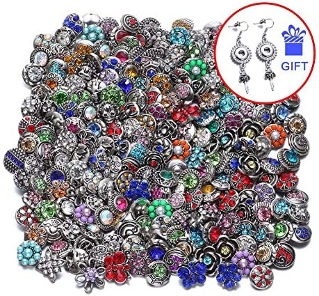 20pcs RoyalBeier Mixed Lot Multi Color Rhinestone Metal Button Charms 12mm Snap Button for Snap Jewelry HM008