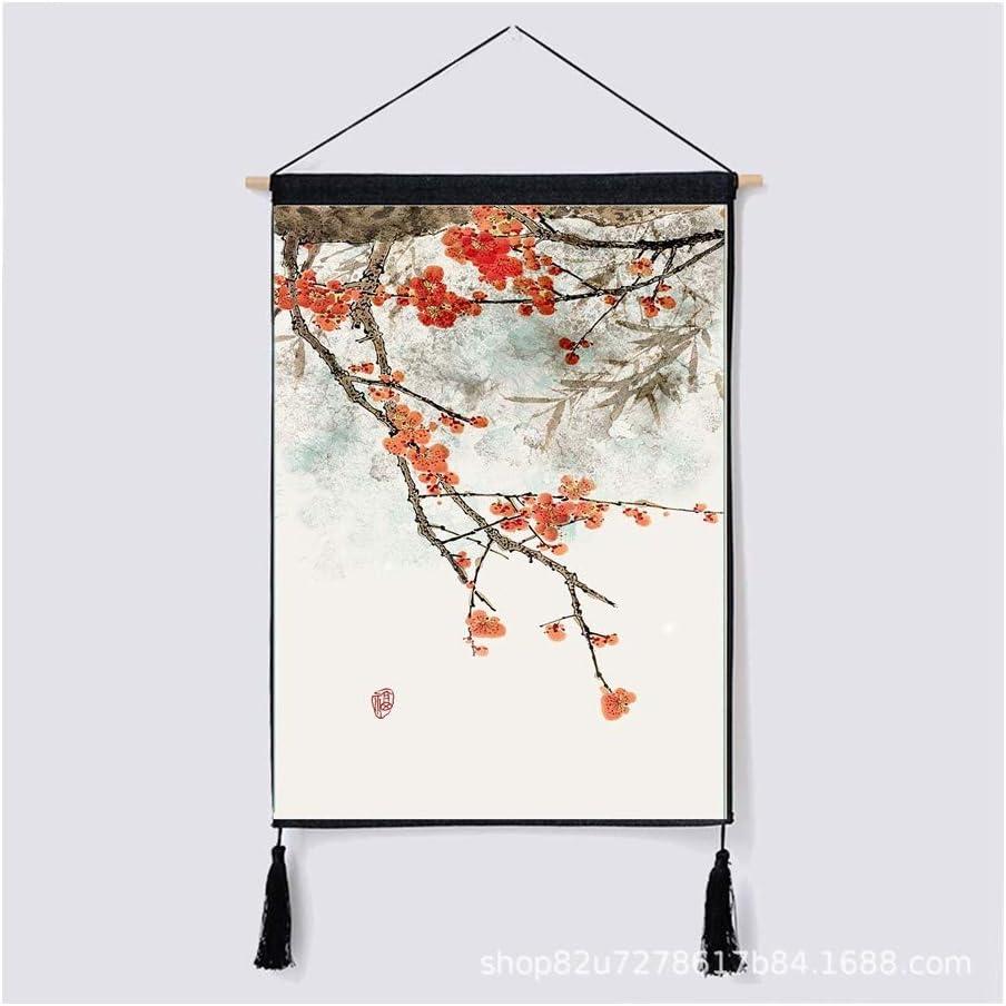 HYZCYGH Chinesische Wind Tapisserie Wandbehang Tuch Verhei/ßungsvollen Sicheren Meter Abdeckung Stoff Baumwolle Leinen Kunst Baumwolle Und Leinen Malerei