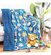 Zareas Soft Fleece Throw Blanket for Kids, Plush Star Blanket for Sofa Couch Bed Dorm with Rainbo...