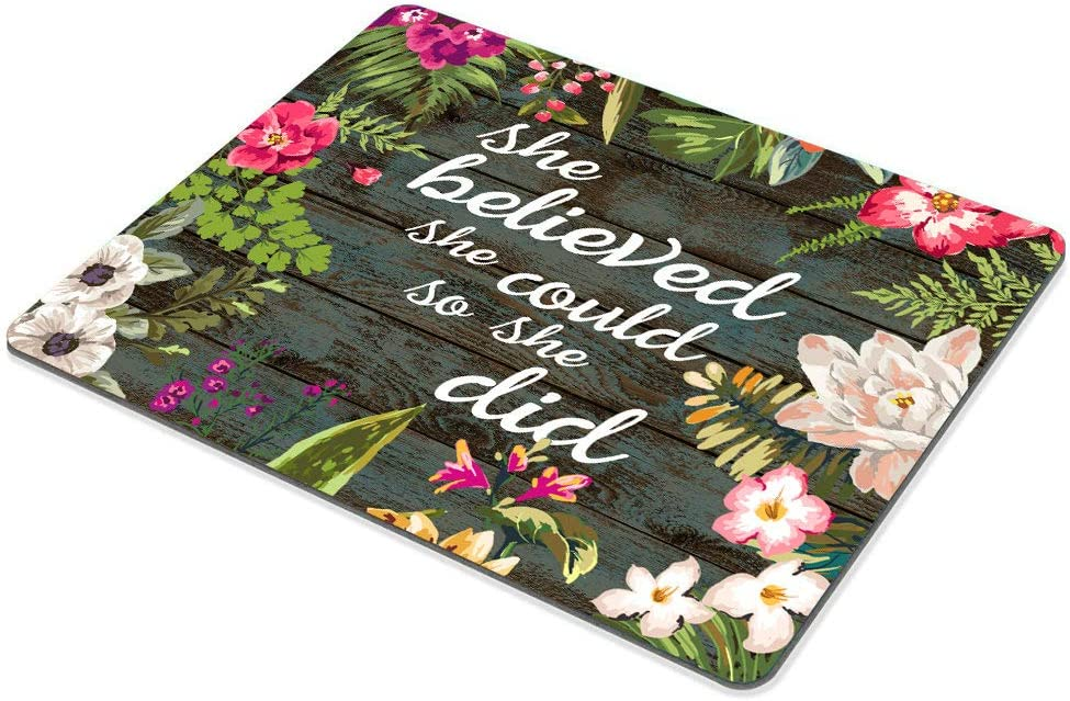 SSOIU Gaming Mouse Pad She Believed She Could So She Did Inspirational Quotes Vintage Floral Rustic Wood Motivational Quote Mouse Pads for Computers