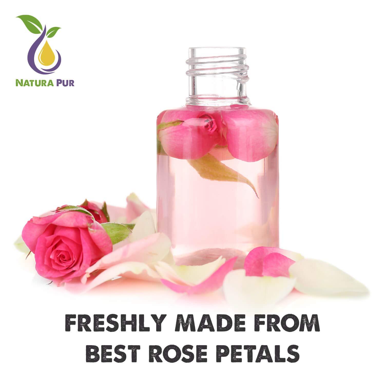 PRIX DE LANCEMENT Natura Pur Eau de Rose Bio 200ml - 100% naturelle, pure, végan - Hydrolat naturel de rose, tonique visage pour peau à imperfections, boutons et acné et démaquillant