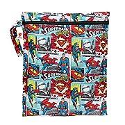 Bumkins Reusable Waterproof Wet Bag with Zipper, DC Comics, Superman