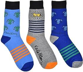 2c3b73e82 Keith Haring Men's 3-Pack Cotton Crew Socks, Multi Color Designs