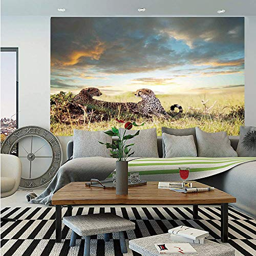 Safari Decor Huge Photo Wall Mural,Two Cheetahs Africa Nature Grass Dangerous Animals Hunters Rainy Weather Picture,Self-Adhesive Large Wallpaper for Home Decor 108x152 inches,