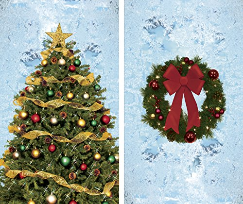 Window Posters Christmas Tree and Wreath with Frosted Background Combo