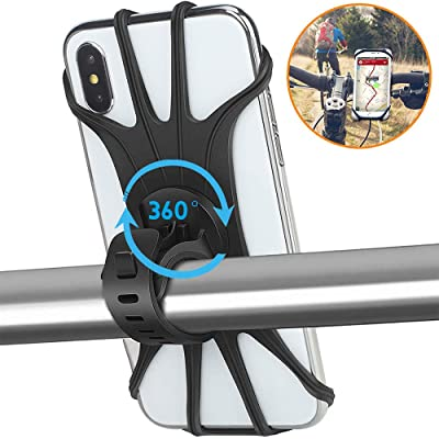 Vsweet Bike Phone Mount for Motorcycle-Universal Silicone Bicycle Phone Holder,Handlebar Cradle Adjustable for Cycling GPS/Music, Fits for 11 Pro Max/XR/XS Max/8/7/ 6/6s Plus, Galaxy S9/S9 Plus