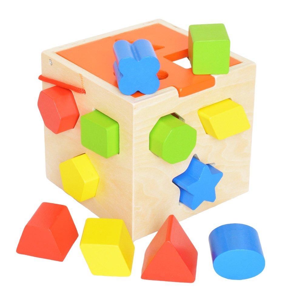 jouet cube avec formes à emboîter en bois
