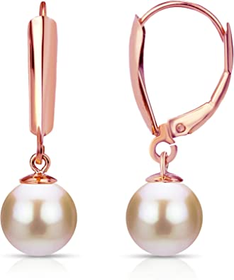 8-8.5mm Genuine Pink Pearl Lever Back Earrings 14K Yellow Gold Filled