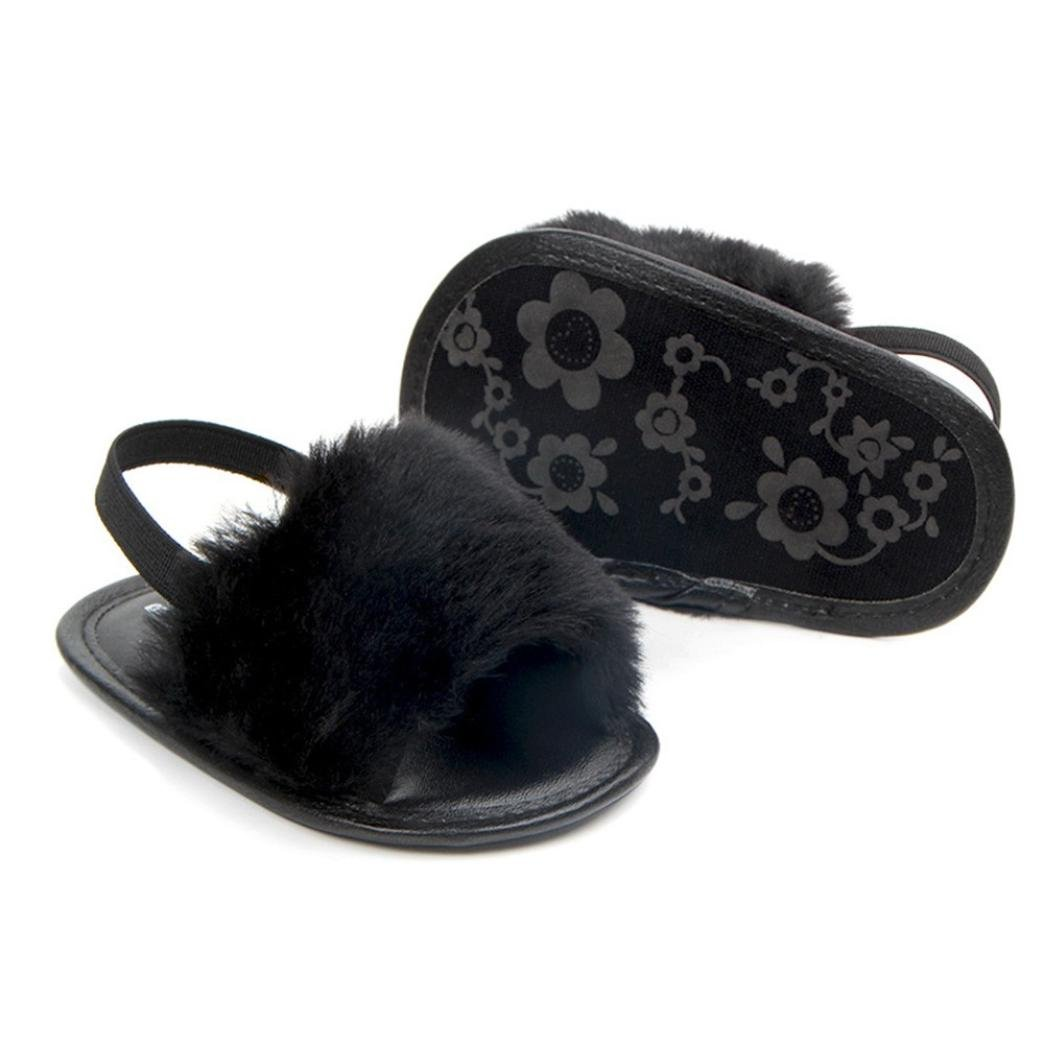 1b313e976 Amazon.com  Highpot Baby Girls Faux Fur Slide Slip On Flat Sandal Shoe  Infant Crib Shoes  Clothing