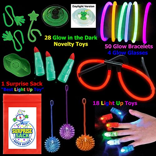 All That Glows 100 Pc Toy Assortment (Includes Glow Bracelets Glow in the Dark Martian Fingers Glow in the Dark Sticky Novelties LED Finger Lights Light up Yo Yos Glow Eye Glasses Light up Necklaces and More... Plus 1 Super Secret Surprise Sack)