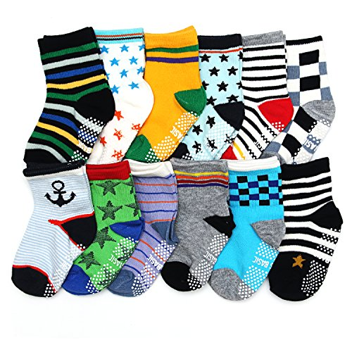 ShoppeWatch 12 Pairs Baby Toddler Socks with Grips Anti-Slip Non-Skid Bottoms For Kids Infant Babies Boys 2T and 3T Walkers BBSK41B Review