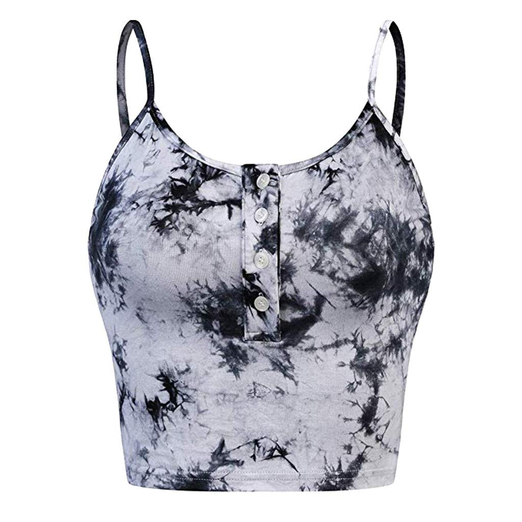 Uscharm Womens Sleeveless Tops O-Neck Button Camisole Casual Floral Print Vest Tanks Strap Vest Camis (Black, S)