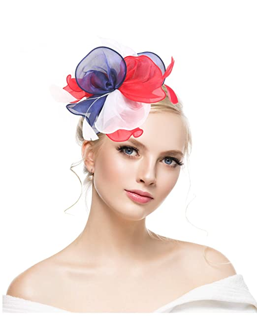 95fb3b7fdd6e8 KASTE Fascinators Hat for Women Derby Wedding Women Tea Party Headband  Kentuck Cocktail Flower Mesh Feathers