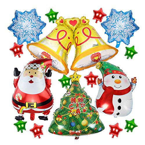Sharlity 16 PCS Christmas Aluminum Foil Balloons,for Party Supplies Decorative Props Christmas Decorations(Santa Claus/Snowflake/Christmas Tree/Gold Bells/Snowman/Star) -