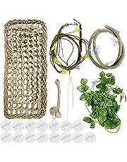 PietyPet 20 sztuk terraristyczna jaszczurka akcesoria do dekoracji przestrzeni życiowych, hamak, smok, trawa morska, gady, hamak ze sztucznymi roślinami, do kameleonu, jaszczurek, gekonu, węży, leguana