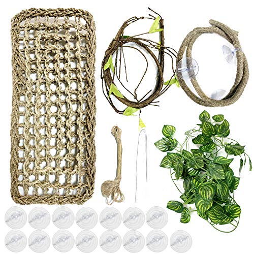 PietyPet Reptile Lizard Habitat Decor Accessories, Bearded Dragon Hammock, Reptile Hammock with Artificial Climbing Vines and Plants for Chameleon, Lizards, Gecko, Snakes, Lguana