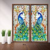 Beyong Life No-glue Peacock Stained Window Film Door Film Glass Stickers Custom (Blue) (L(12-18sq.ft), blue)