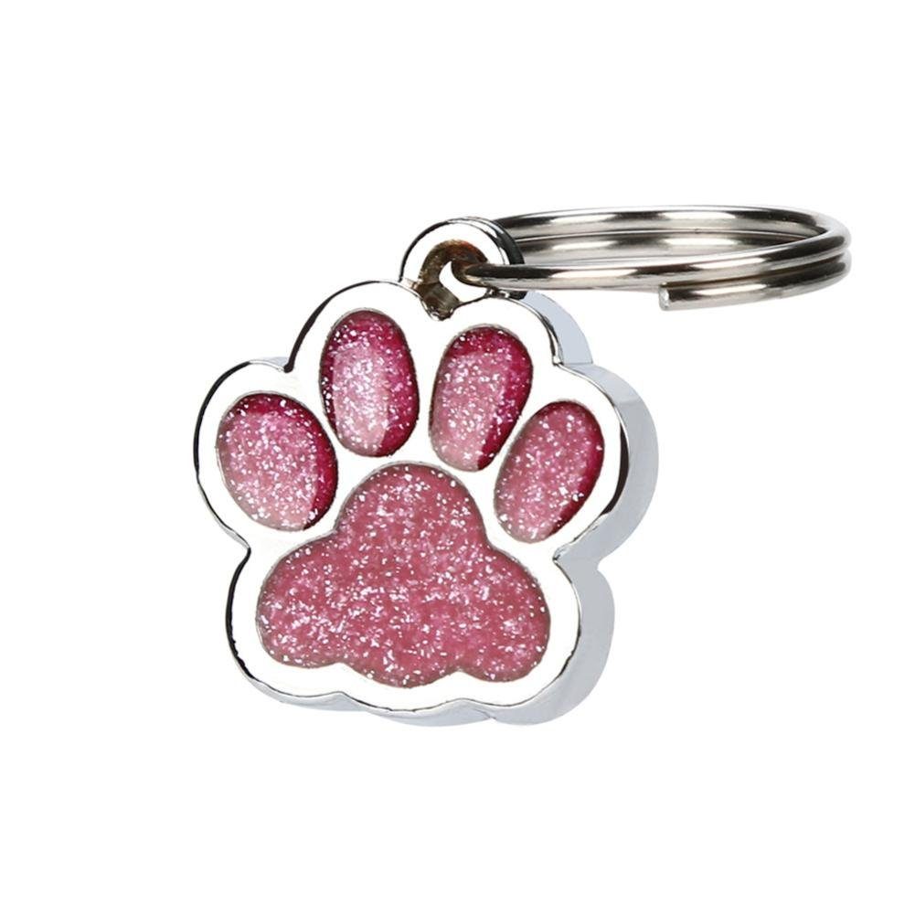 Celendi_ Pet Supplies ID Tags Personalise Engraved Glitter Paw Print Tag Dog Cat (Hot Pink)