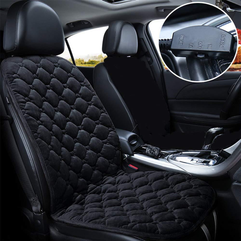 STYLINGCAR Sitzheizung Auto Sitzkissen Beheizbar Sitzauflage schwarz/Kaffee + Steckdose, fü r Fahrersitz, Beifahrersitz, Rü cksitz (2 Schwarze Vordersitzkissen)