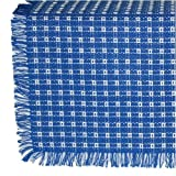 62 x 108 (Rectangle) Homespun Tablecloth, Hand Loomed, 100% Cotton, Blue/White