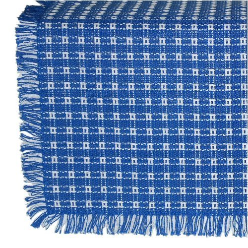 Mountain Laurel Mercantile 70 Inch Round Homespun Tablecloth, Hand Loomed, 100% Cotton, Blue/White made in New England