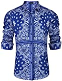 JINIDU Mens Paisley Shirts Long Sleeve Loose Fit Hip Hop Print Casual Button Down Shirt