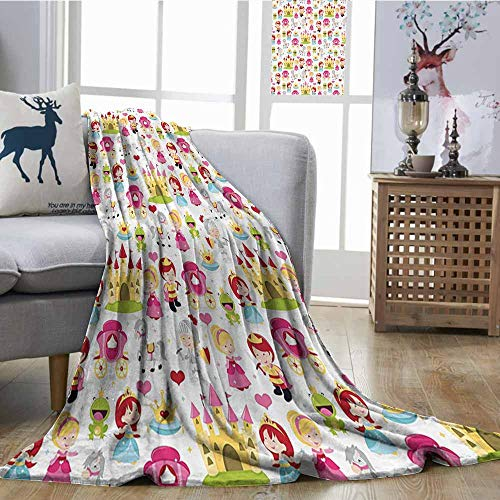 Homrkey Printing Blanket Kids Cartoon Style Illustration Cute Princesses Princes Knights Castles Crowns Frogs Horses Fall Winter Spring Living Room W60 xL80 Multicolor