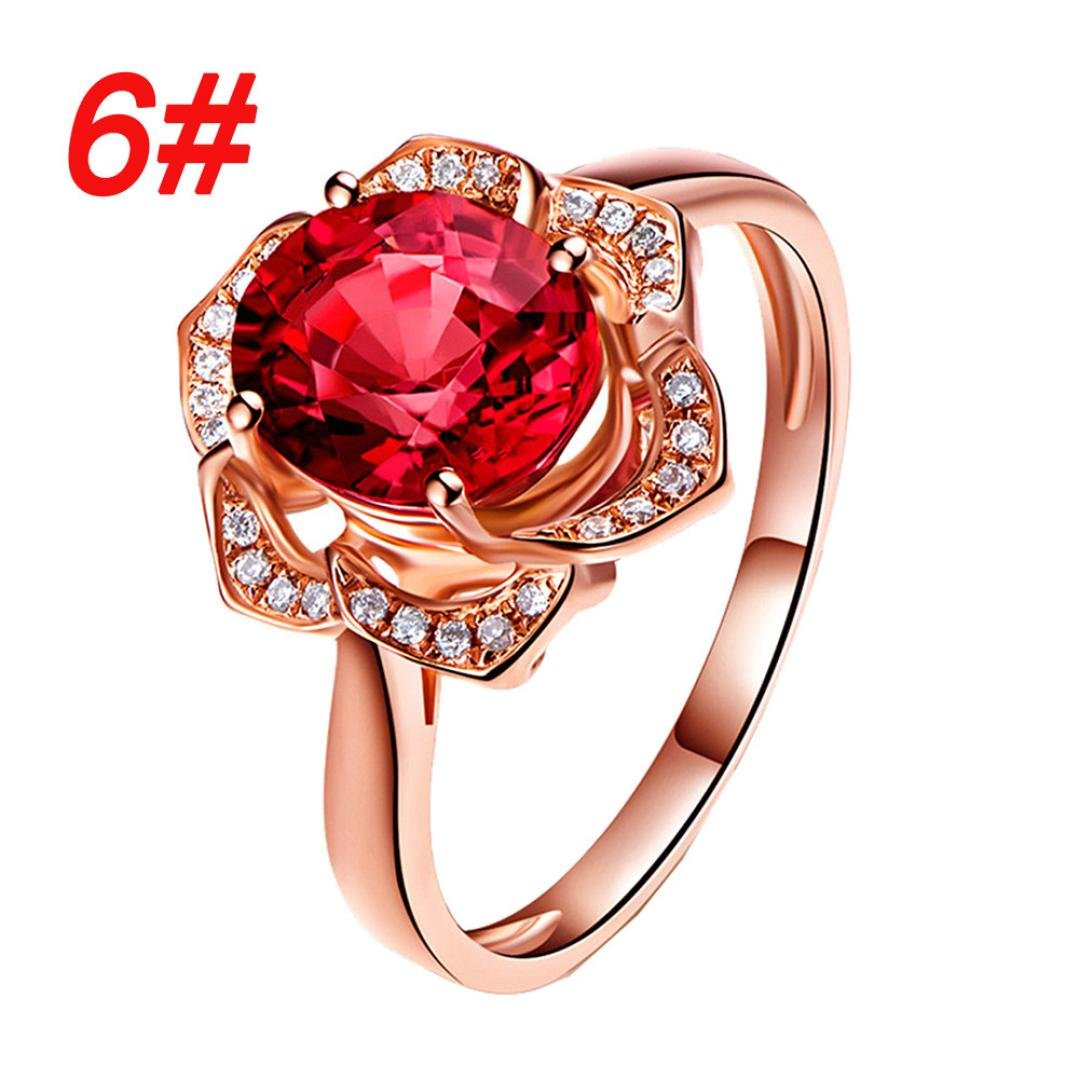 SMALLE◕‿◕ Clearance,Flower Crystal Wedding Ring for Women Jewelry Accessories Rose Gold Gold Engagem by SMALLE◕‿◕ (Image #2)