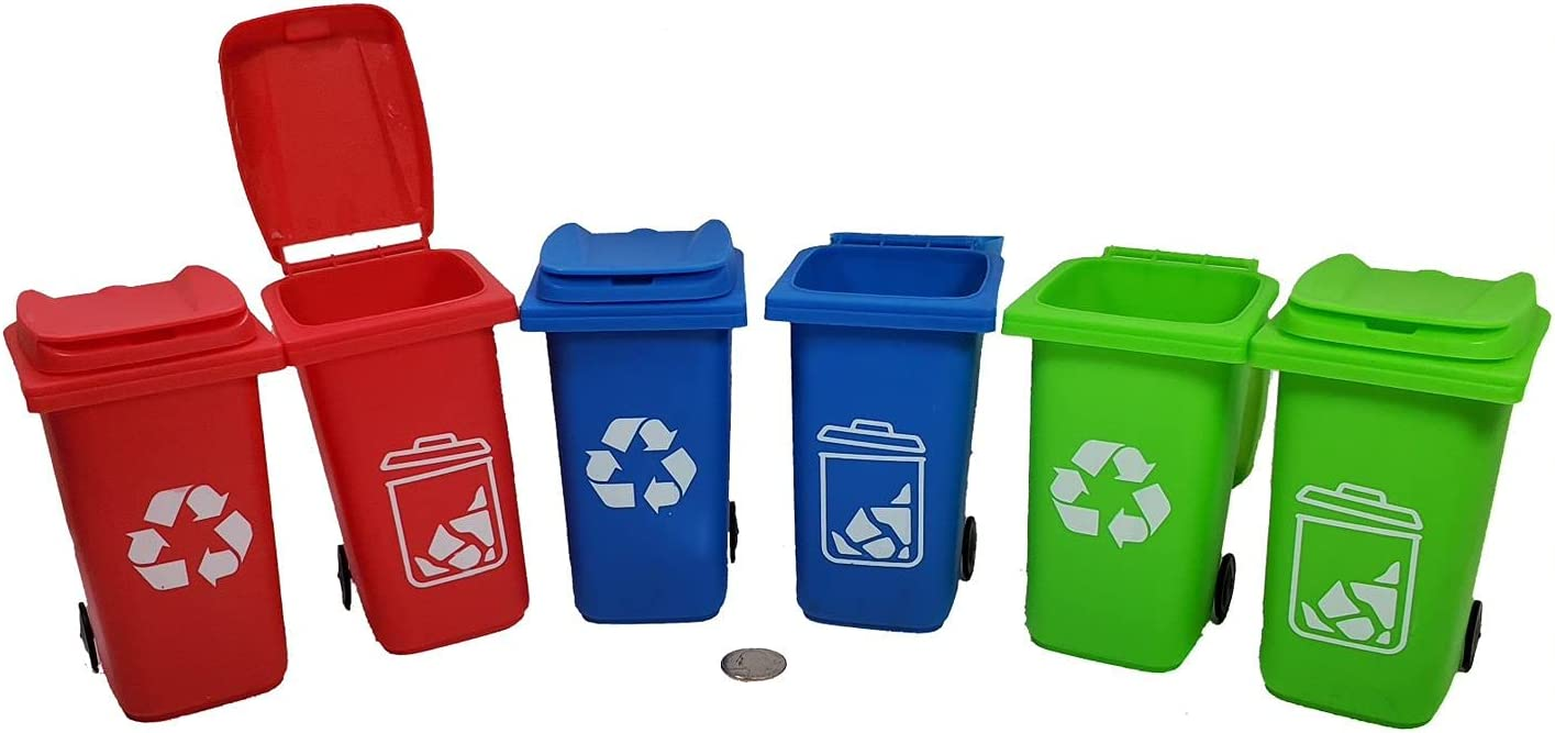 Set of 6 Mini Garbage Trash Can & Recycling Bin Pencil Holder Storage Container Desk Organizer for Office Home or School in 2 - Red , 2 - Green, and 2 - Blue