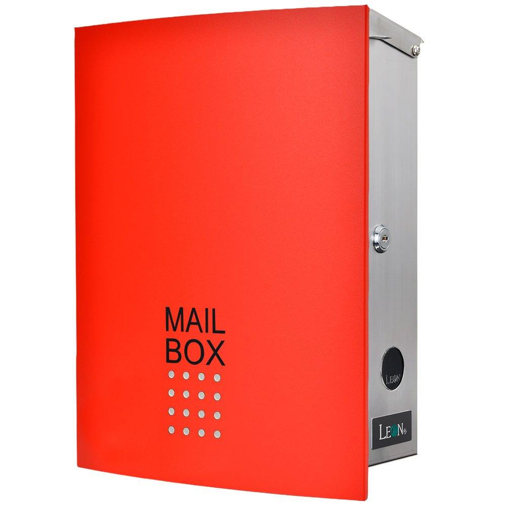 LEON (レオン) MB4504ネオ 郵便ポスト 壁掛けタイプ ステンレス製 鍵付き おしゃれ 大型 ポスト 郵便受け (マグネット付き) レッド B079GQWPC5 24624 レッド レッド