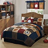 2pc Boys Tan Navy Red Brown Royal Blue Grey Twin Quilt Set, Cotton, Sports Themed Bedding Patchwork Plaid Beige Basketball Soccer Football Baseball Stylish Fun Colorful Bold Athlete