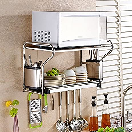 Amazon.com: 304 stainless steel microwave oven rack / kitchen racks on kitchen pot racks, kitchen sink racks, kitchen slide out racks, kitchen pantry racks, kitchen pan storage racks,
