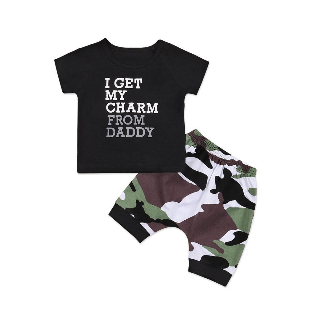 Catpapa 2pcs Baby Boys Girl's Summer Cotton Short Sleeve T-Shirt +Camouflage Pants Outfits Set (12-18 Months)