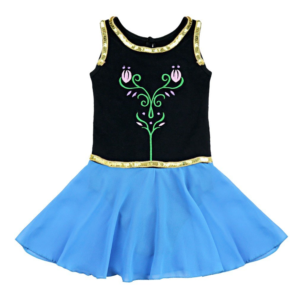 Freebily Kids Girls Princess Snow Queen Costume Embroidery Ballet Tutus Dancewear Black&Blue 4