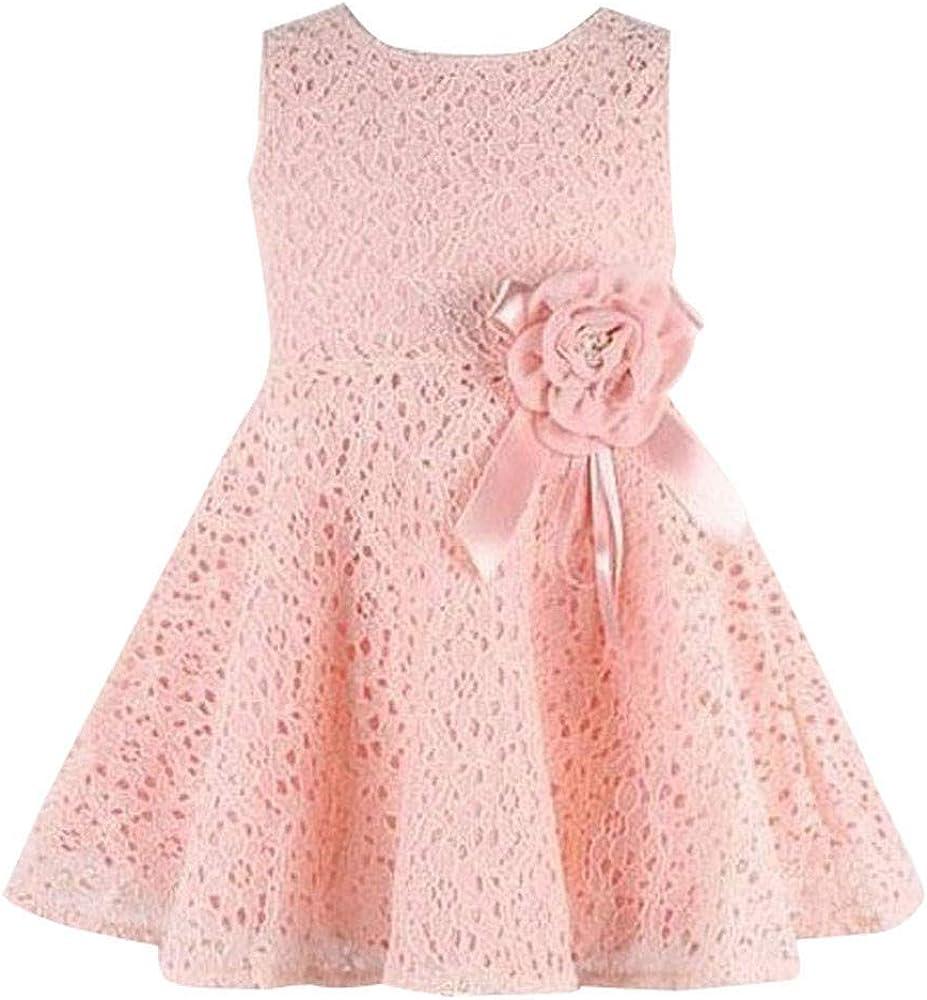 Kinder /Ärmellos Spitze Floral Einteiliges Kinder T/üll Kleid Prinzessin Party Kleid MOIKA Baby Kleider M/ädchen f/ür 0-7 Jahre Kleidung