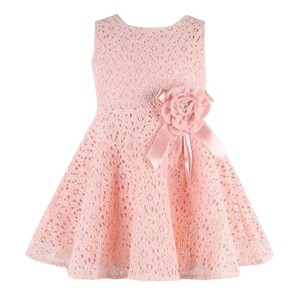 MOIKA Baby Mädchen Kleid für 0-7 Jahre, Mädchen Kinder Ärmellos Spitze Floral Einteiliges Kleid Kind Prinzessin Party Kleid