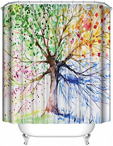 Ginsenget Shower Curtains Mould Proof,Resistant,Waterproof Heavy Duty Bathroom Curtains with,Tree hole