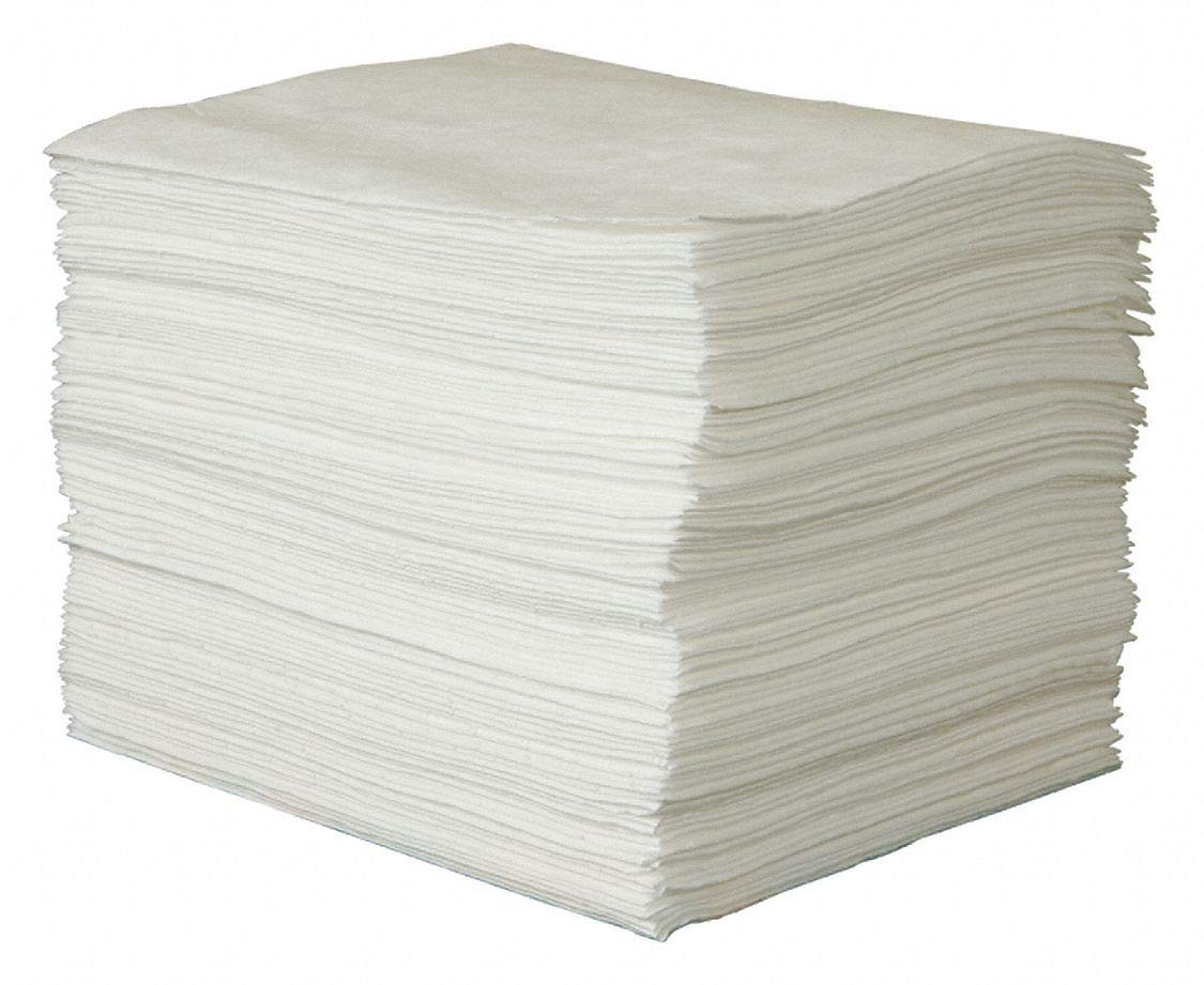 CONDOR Absorbent Pad, 33 gal, White, PK100 by CONDOR