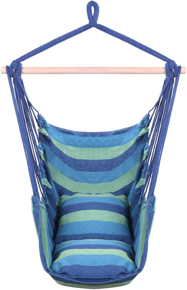 Lovinland Portable Hammock Chair, Hanging Chair Rope Swing Cotton Patio Yard Porch Sky Chair with Pillows for Indoor Outdoor Use