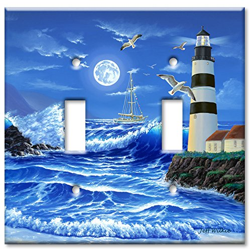 Art Plates - Lighthouse at Night Switch Plate - Double (Lighthouse Switchplate Cover)